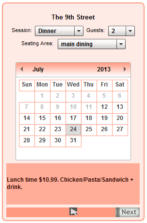 Restaurant reservation plugin