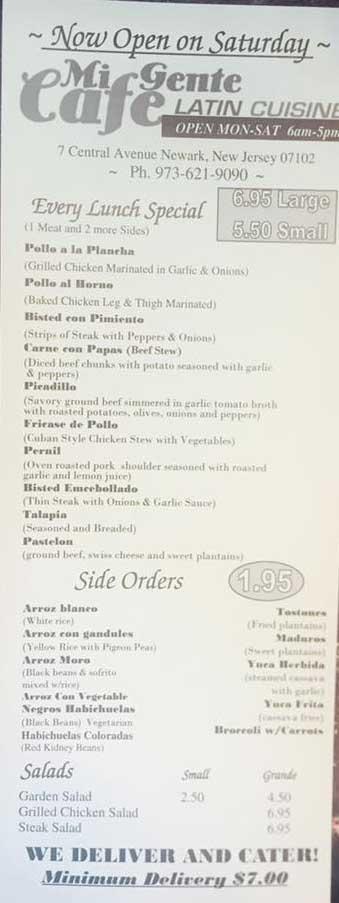 Mi Gente restaurant menu page 1